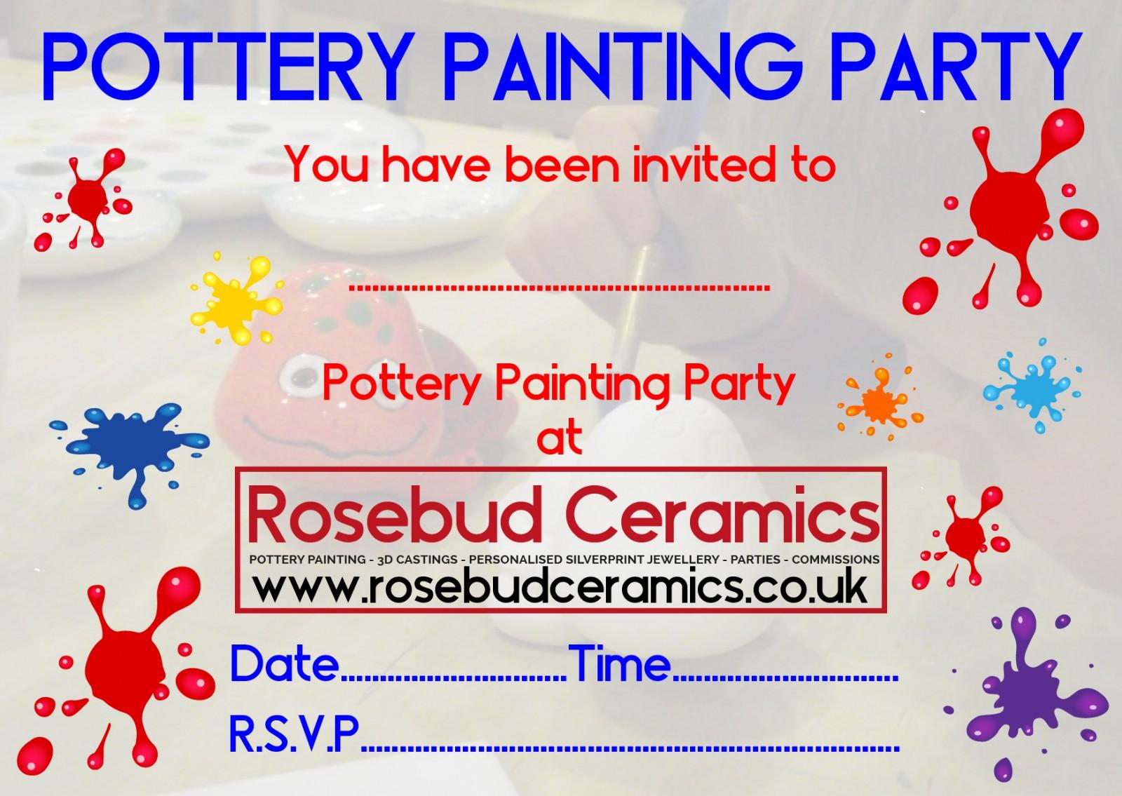 Party Invitations Rosebud Ceramics – Pottery Painting Party Invitations